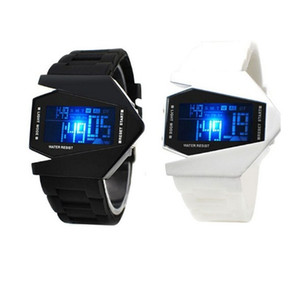 Fashion Men Women Unisex Digital Stealth Fighters Design LED Sports Watch Colorful Background Lights Silicone Wristwatch Plane Bomber Watch