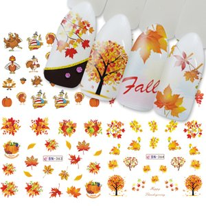 Wholesale Mix Autumn Nail Sticker Water Decal Thanksgiving Day Yellow Gold Leaf Turkey Watermark Slider Manicure Decor Tips SABN361