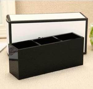 Fashion brand classic high-grade acrylic toiletry 3 grid storage box   cosmetic accessories storage with gift packing