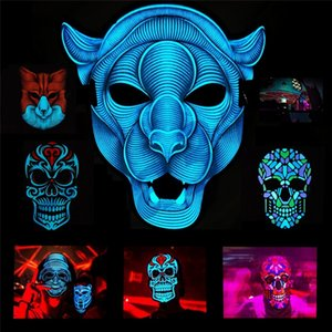Newest Sound control luminous LED mask, nightclub makeup mask, fluorescent LED Horror mask Sound control EL Party Masks I315