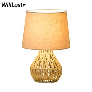 Wholesale modern handmade table lamp hand knitted hemp rope table light living room bedroom table lighting fabric shade bedside desk light