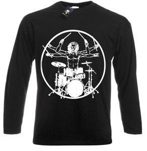 Wholesale Vitruvian Drummer Funny Drumming T Shirt Drums Drum Kit Stick Music Rock Metal