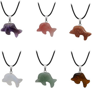 Wholesale Cute Dolphin Crystal Necklace Healing Turquoise Green Aventurine Quartz Stone Silver Gold Leather Chain Natural Stone Necklace Gift