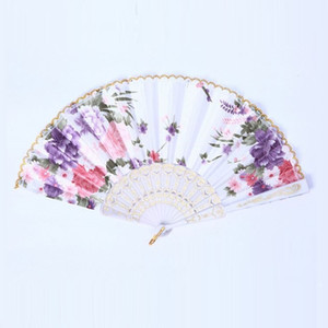 Wholesale The New hot sale Ms Silk fan dance High end ladies fan Gift wedding Vintage Fancy Folding Fan T4H0228