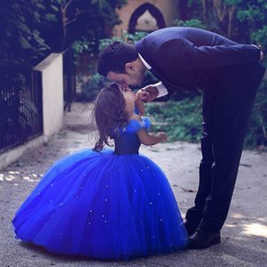 Wholesale Blue Princess Pageant Flower Girl Dresses Off The Shoulder Tulle Ball Gowns Beads Rhinestones Luxury Cute Birthday Party Dress Szie 2-14