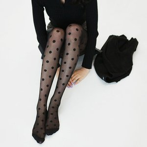 Wholesale New Pantyhose Women Tights Black And White Big Dots Entirely Seamless Sexy Sheer Stockings Tight Female collant pantyhose