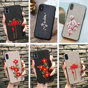 Wholesale Mobile Shell Case Art Vintage Phone X Embroidery Flowers Cloth protection cover plus tide female personality Boutique Flowers