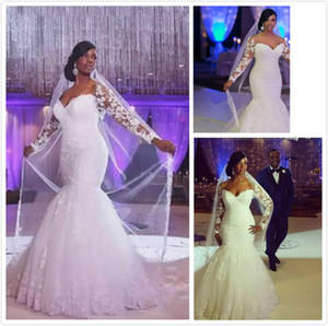 Wholesale African Wedding Dresses Off The Shoulder Long Sleeves Lace Appliques Lace Custom Made Mermaid Plus Size Wedding Gowns Cheap Bridal Dress