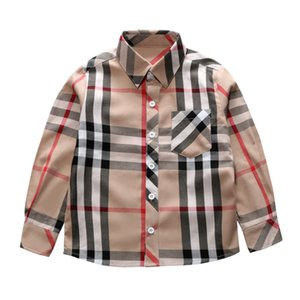 ropa de otoño al por mayor-Classic Boys Plaid Shirt Designer Kids Sapa de manga larga Camisa de manga larga para niños Pollo de soltera de Niños Pocket Casual Lattice Tops Fall Boys Ropa F1640