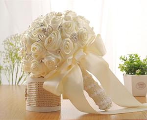 2020 Beautiful Wedding Bridal Bouquet Wedding Decoration Bridesmaid Flower Pearls Crystal Rose White Ivory Free Shipping