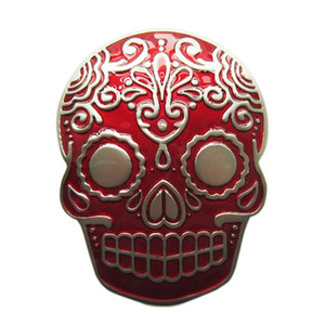 ingrosso cintura smaltata-New Red Enamel Matter Argento placcato Tattoo Skull Belt Buckle Boucle de ceinture