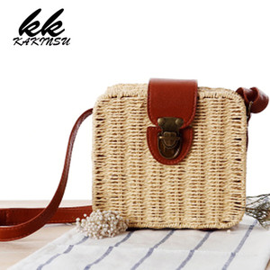 women's handbags mini women messenger bags leather Square Straw ladies Crossbody Bag shoulder bags summer bolsa feminina 2018