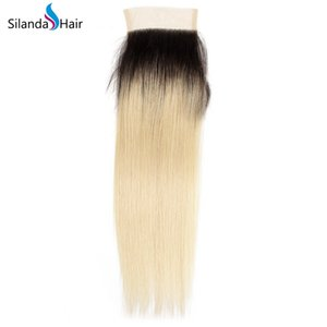Wholesale Silanda Hair Fast Delivery Brazilian Remy Human Hair Lace Closure Free Part Ombre T B Straight x4 Weave Closure Pieces