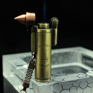 Metal Bullet Shaped Refillable Butane Gas Windproof Cigarette Lighter jet torch flint wheel with key chain portable Gift