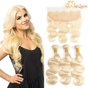 Wholesale 613 Body Wave Hair Bundles With x13 frontal closure Blonde Human Hair Body Wave With Lace Frontal Gagaqueen Hair