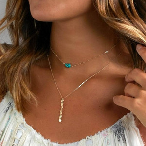Wholesale Chain Choker Necklaces Beading Turquoise Charm Layered Gold Silver Filled Double Layer Chokers Gift Idea Womens Pendant Necklaces