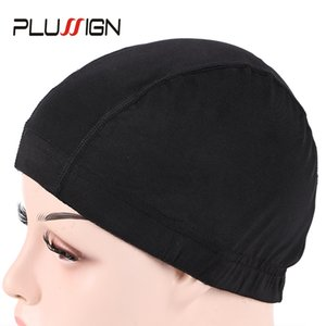 Wholesale Plussign PC Spandex Dome Cap For Making Quality Strech Glueless Hair Weave Net Elastic Mesh Dome Cap Pack Black