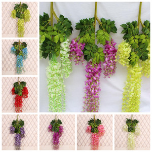 Wholesale Colorful Romantic Wedding Decoration Artificial Silk Flower Wisteria Vine Hanging Garland Plant Home Garden Decor EEA194