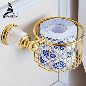 Wholesale paint basket for sale - Group buy Paper Holders Modern Design Toilet Roll Paper Storage Basket Bathroom Accessories Gold Painting Ceramic Wall Paper Holder