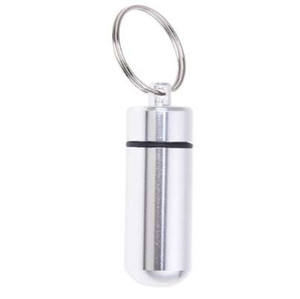Silver Pill Medicine Box Case Holder Container Capsule Bottle Keyring Keychain