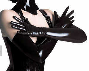Wholesale sexy gloves men for sale - Group buy 2018 new Hot Latex Gothic Sexy Lingerie Long Men Gloves Hot Cekc Strong Male Fetish Wrist Female Customized