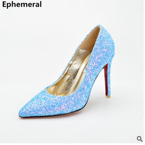 Wholesale Cinderella High Heel Pumps Princess Stilettos Shoes for Women Bling Party Nigh Club Zapatos Silver Purple Luxury Plus Size