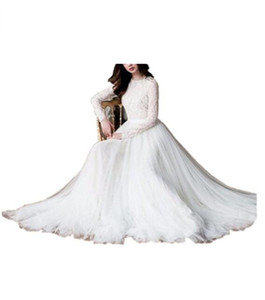 Wholesale glamorous robes resale online - Glamorous Jewel Neck White Lace A Line Wedding Dresses Long Sleeves Bridal Wedding Gowns Bride Robe De Mariage Vestidos De Noiva