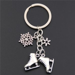Wholesale 1pc Antique Silver Skates Snowflake Pendant Key Ring Skating Key Chain Keychain Jewelry For Winter Gift