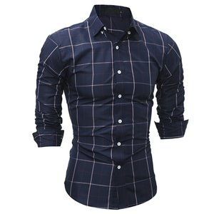 Wholesale NEW Fashion Spring autumn young men Plaid classic Casual Tuxedo wedding business Shirts Slim mens clothing dress shirt