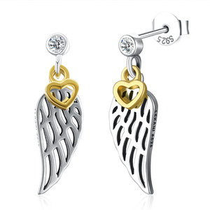 Wholesale Highly Polished Sterling Silver Angel Wings Design Dangle Drop Earrings with Golden Heart Lock Charm Crystal CZ Post