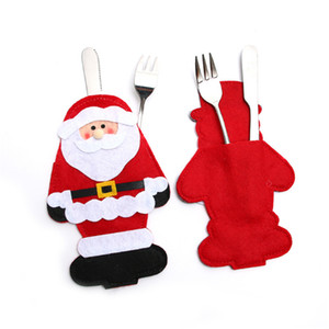 Christmas New Year Kitchen Decor Christmas Santa Claus Snowman Elk Knife Fork Tableware Bags Dining Restaurant Table Decoration Holder