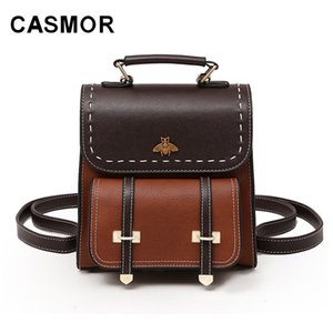 Wholesale CASMOR Vintage Backpacks Women Classic Old School For Girls Fashion School bag PU Leather High Quality College Backpack