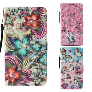 Wholesale 3D PU Cases for iPhone XR XS Max Plus Windbell Flower Printed Flip Cover for Samsung Galaxy Note9 Card Pocket coque