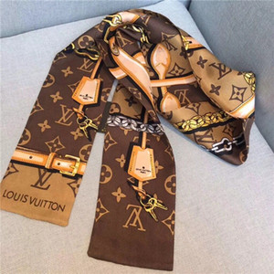 Wholesale Hot Designer scarf ladies slim narrow bag handle silk scarf double sided printed twill satin brand small ribbon