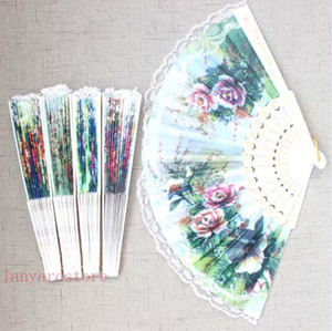 12Pcs lot Lace Hand Fan Bamboo Chinese Wedding Favors Silk Vintage Folding Chrysanthemum Fashion Abanico De Mano Home Decoration Crafts