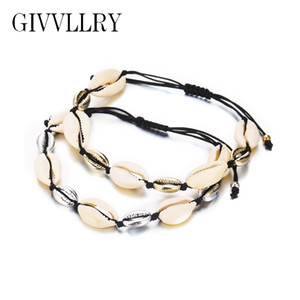 Wholesale GIVVLLRY Bohemian Shell Beaded Bracelets for Women Ethnic Hawaii Gold Shell Handmade Weave Black Rope Weave Adjustable Bracelet