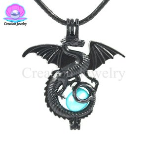 Wholesale Charms Black Dragon Small Pearl Bead Cage Pendant Locket Fit Necklace Bracelet Jewelry Making