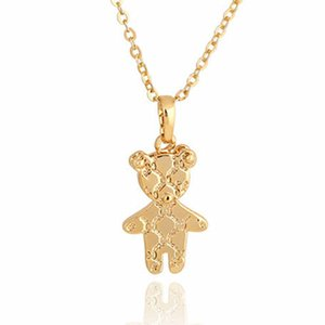 Wholesale Fashion Cute Gold Mini Teddy Bear Pendant Necklace Women Men Mother Child Girl Lovely Teddy Bear Jewelry Collier Femme