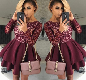 2019 Cheap Short Burgundy Homecoming Dress A Line Long Sleeves Juniors Sweet 15 Graduation Cocktail Party Dress Plus Size Custom Made