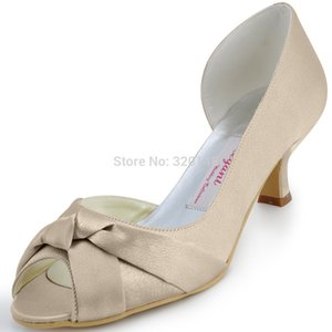 woman shoes wedding bridal mid heel peep toe knots slip on stain ladies bride bridesmaids prom party dress pumps champagne ivory