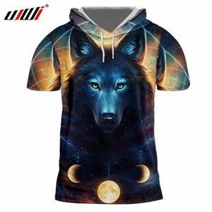 Wholesale Men s Short Sleeve Hooded Tshirt Cool Print Galaxy Space Wolf D Cap T shirt Man Hip Hop Streetwear Pullovers Tracksuits