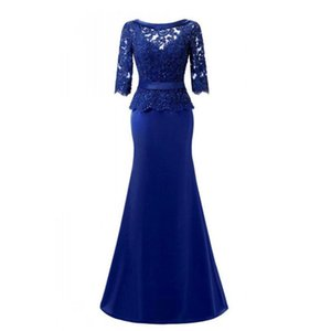 Wholesale 2018 elegant royal blue satin sheath mother of the bride dresses custom half sleeves beads lace long mother's dress backless evening gowns