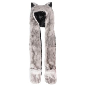 Wholesale MOCH Winter Full Animal Hoodie Faux Fur Scarf Gloves Hat in Function White Gray