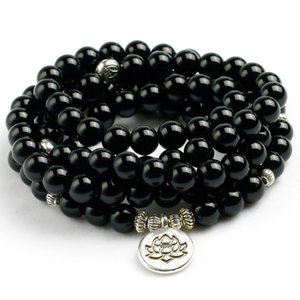 Wholesale Natural Black Onyx Mala Beads Bracelet Necklace Women Men Tree Life Om Charm Stone Powerful protection Yoga Jewelry