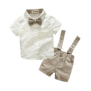 Wholesale New Summer Fashion Baby Boy Clothes Gentleman T shirt Overalls Cotton Children Sets Kids Clothing Newborn Clothing Sets