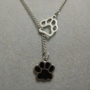 Wholesale Bear Cat Dog paw Enamel Dog paw prints Fashion Charms Antique Silver Greyhound Dog Pendant Necklace Suspension Jewelry Gift