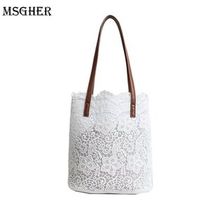 Wholesale M S White Lace Beach Bags Women Summer Shoulder Bag Casual Big Capacity Hollow Out Handbags Womens Black Flower Bags WB498 D18102303