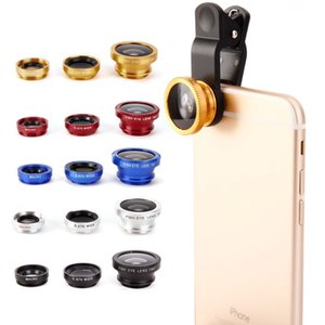 Wholesale Hot in For iphone s samsung set fish eye lens microscope lens telescope wide angle lens for all with clip