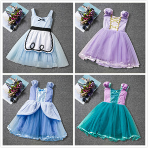Wholesale cinderella baby clothes for sale - Group buy Summer Cinderella Princess Dresses Waist Bow Mesh Color Matching Cartoon Movie Tutu Dress Baby Girls Clothing Kids Dress