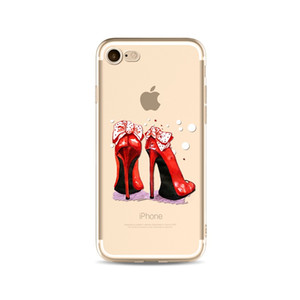 Wholesale High Heeled Shoes Printing Painting Phone Soft TPU Gel Clear Transparent Case For iPhone X S S Plus DHL Free
